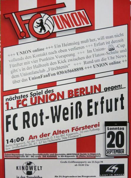 Programm 1994//95 Rot Weiß Erfurt FC Hertha 03